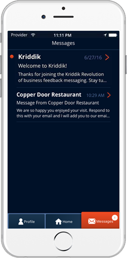 Speak Directly to the Business from the Kriddik Mobile App